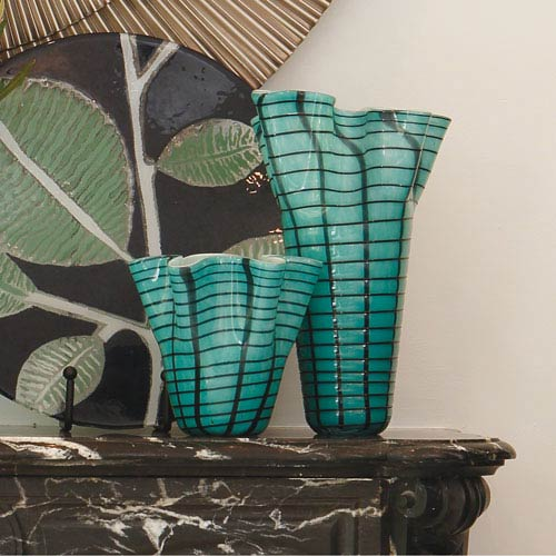 Global Views Ripple Blue Medium Vase