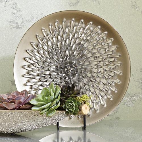 Chrysanthemum Matte Silver Charger