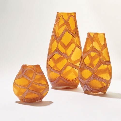 Global Views Criss-Cross Amber Large Vase