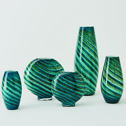 Aqua Green Swirl Small Vase