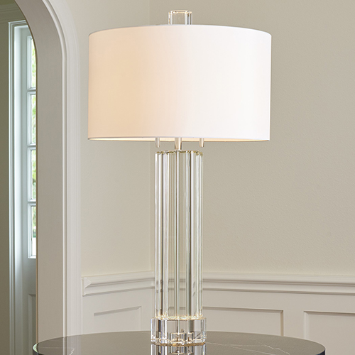 Global Views Fluted Crystal Column Two Light Table Lamp 8 82477