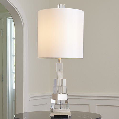 Nickel One-Light Twisted Crystal Lamp