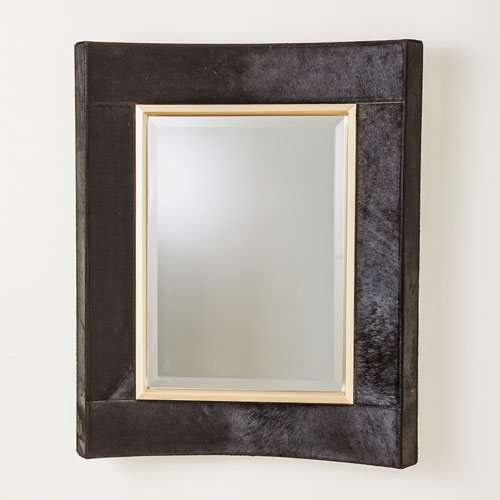Curved Black Hair-on-Hide Short Mirror