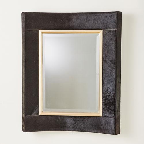 Global Views Curved Black Hair-on-Hide Short Mirror