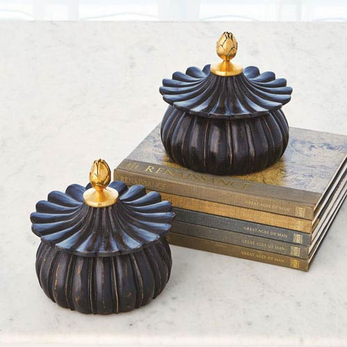 Carved Black Antique Lotus Box