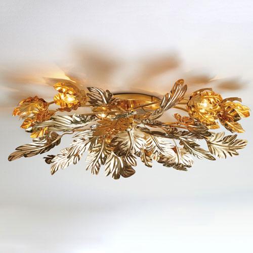 Global Views Dancing Leaves Brass Ceiling Fixture