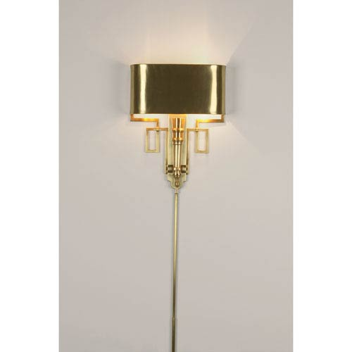 Torch Antique Brass Two-Light Sconce with Shade