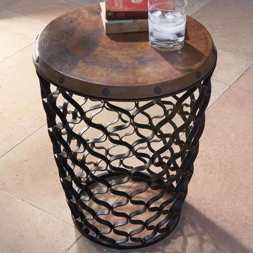 Black Small Arabesque Table with Antique Copper Top