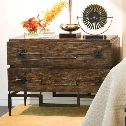 Dark Brushed Mango Two-Drawer Wide Chest