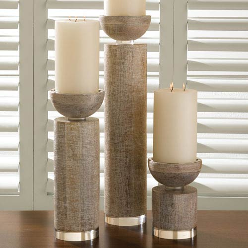 Scratched White Small Candleholder Pillar