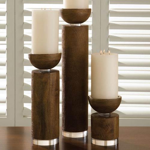 Global Views Scratched Brown Small Candleholder Pillar