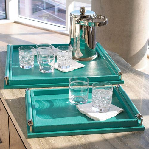 Turquoise Large Wrapped Handle Tray Only