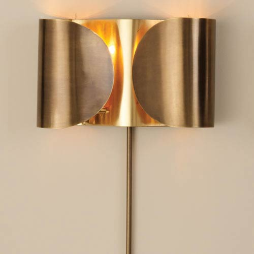 Global Views Folded Antique Brass Two-Light Sconce