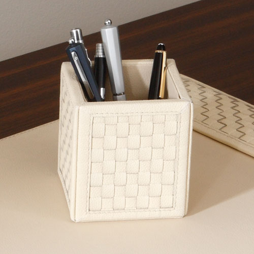Woven Ivory Pencil Cup