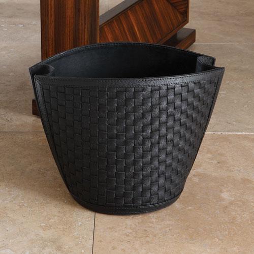 Woven Black Wastebasket