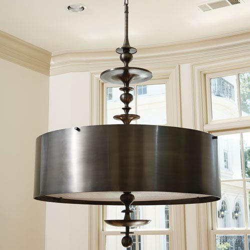 Antique Bronze Four-Light Turned Pendant