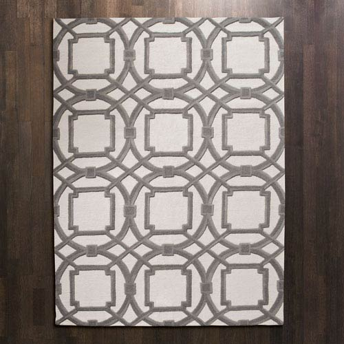 Global Views Arabesque Gray and Ivory Rectangular: 5 Ft. x 8 Ft. Area Rug