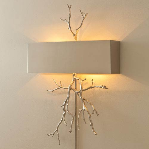 Nickel Twig Two-Light Plug In Wall Sconce