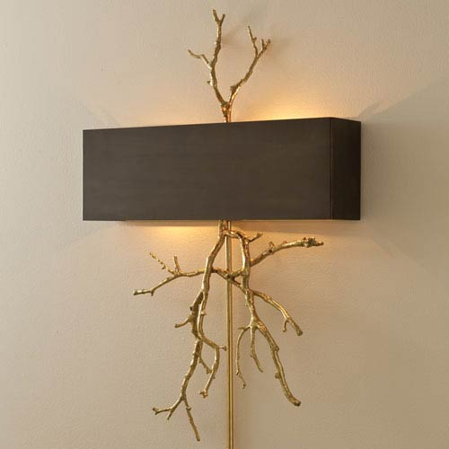 Brass Two-Light Twig Plug In Wall Sconce with Bronze Shade