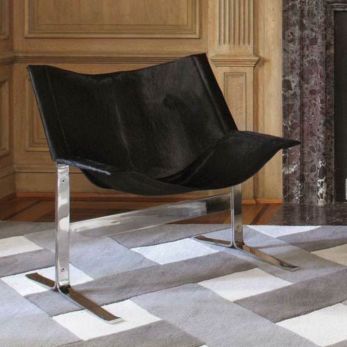 Global Views Cantilever Black Hair-on-Hide Chair