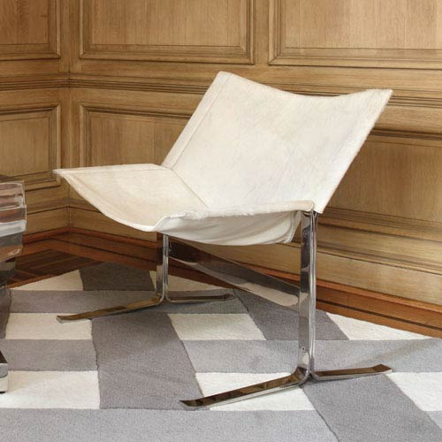 Cantilever White Hair-on-Hide Chair