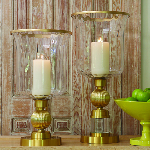 Global Views Brass Opera Fluted Console with Quartz Insert