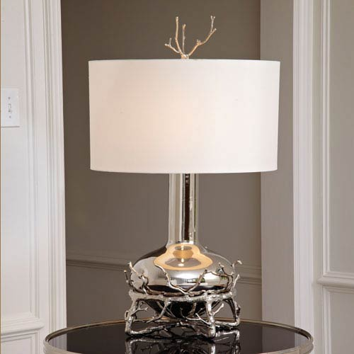 Nickel Two-Light Twig Table Lamp