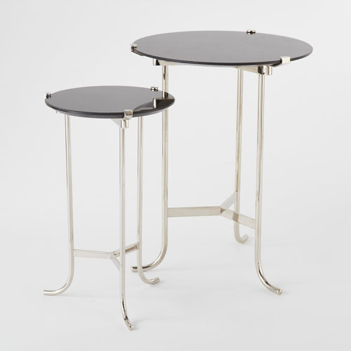 Global Views Mini Plie Polished Nickel And Black Marble Table