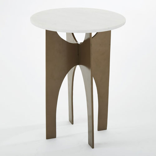 Global Views LAX Bronze and White Marble Table