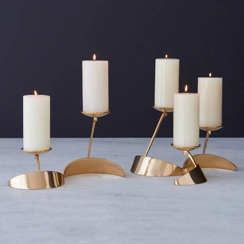 Global Views Pinwheel Brass Candleholder