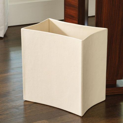 Folded Ivory Leather Waste Basket