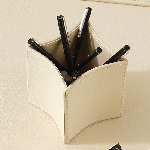 Global Views Folded Leather Ivory Pencil Cup