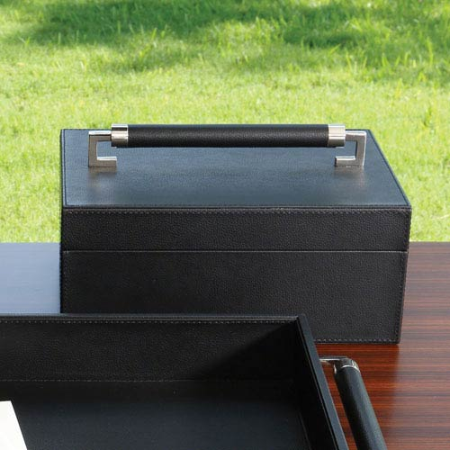 Wrapped Leather Black Handle Box
