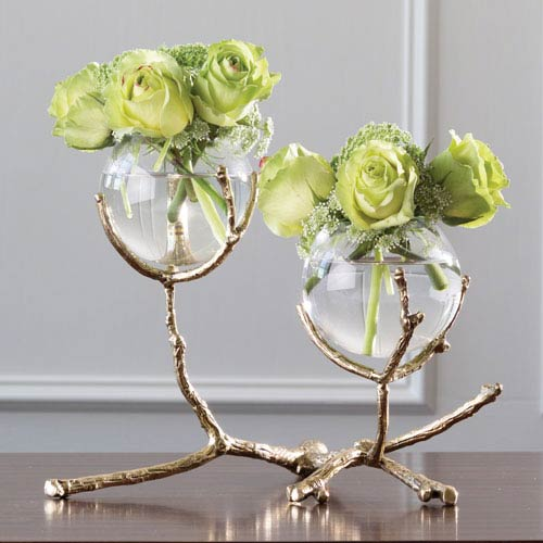 Global Views Twig Two-Vase Brass Holder