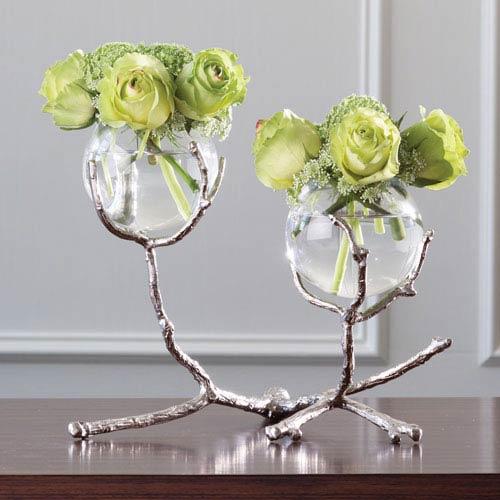 Global Views Twig Two-Vase Nickel Holder
