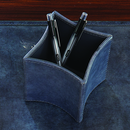 Folded Blue Wash Leather Pencil Cup