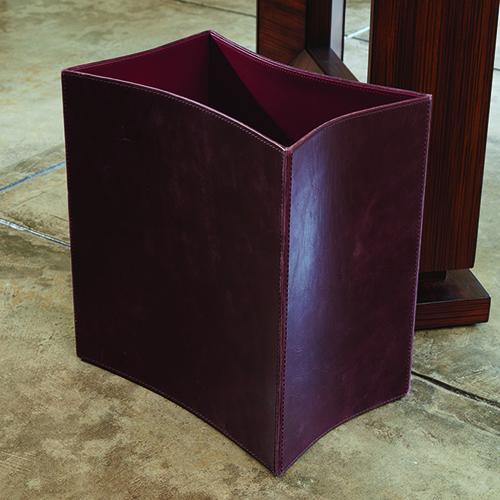 Folded Garnet Wash Leather Wastebasket