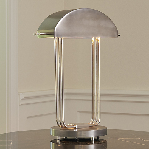 Arc Deco Nickel and Charcoal One-Light Table Lamp