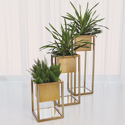 Escher Small Brass Pedestal Planter