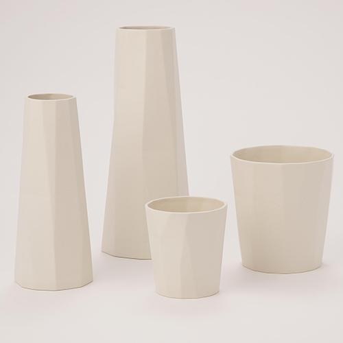 Prism Bleached Bone Large Vase