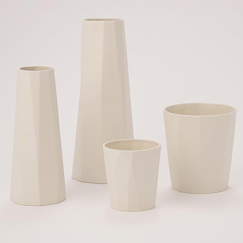 Prism Bleached Bone Small Vase