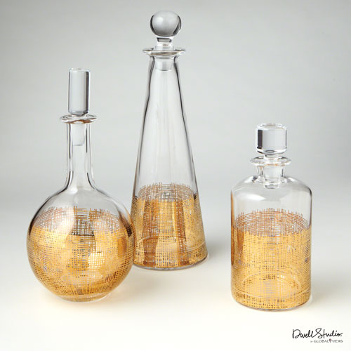 Crosshatch Gold Cylinder Decanter