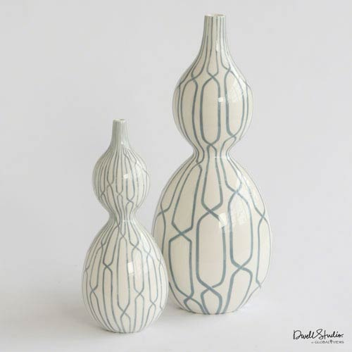 Linking Trellis Double Bulb Large Blue Vase
