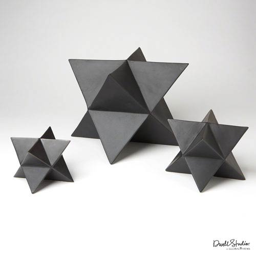 Star Matte Black Object, Set of Three