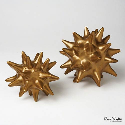 Global Views Large Antique Gold Urchin