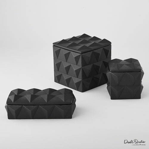 DwellStudio Matte Black Medium Braque Storage Box Only