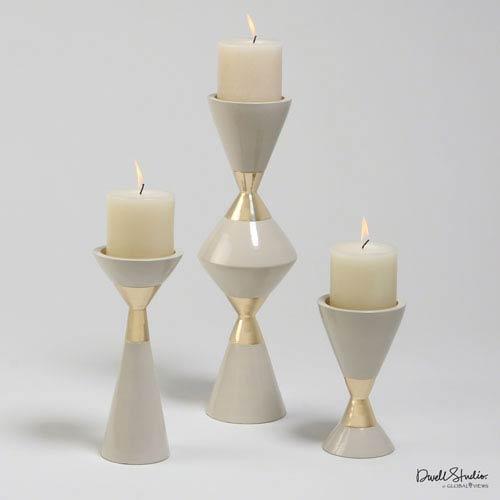 Hourglass Pillar Cream and Gold Candleholders, Set of Three
