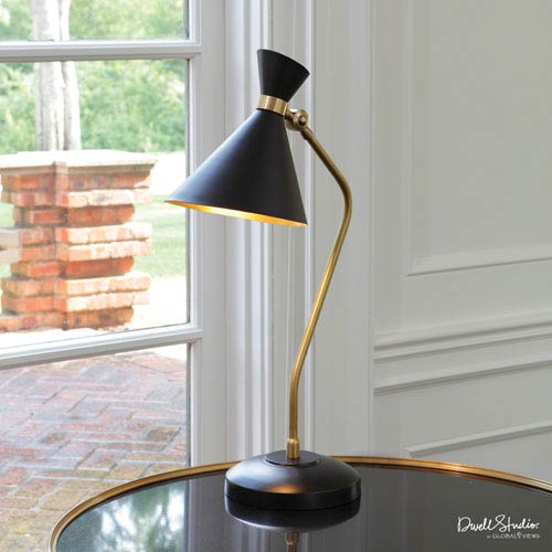 DwellStudio Brass One-Light Cone Desk Lamp