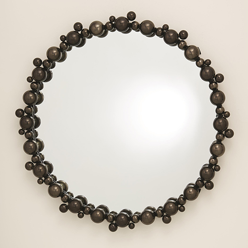 Bubble Black Chrome Mirror