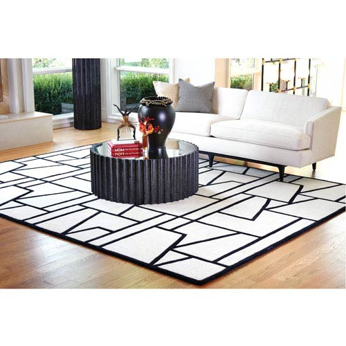 Zig Zag Ivory and Black Rectangular: 5 Ft. x 8 Ft. Rug
